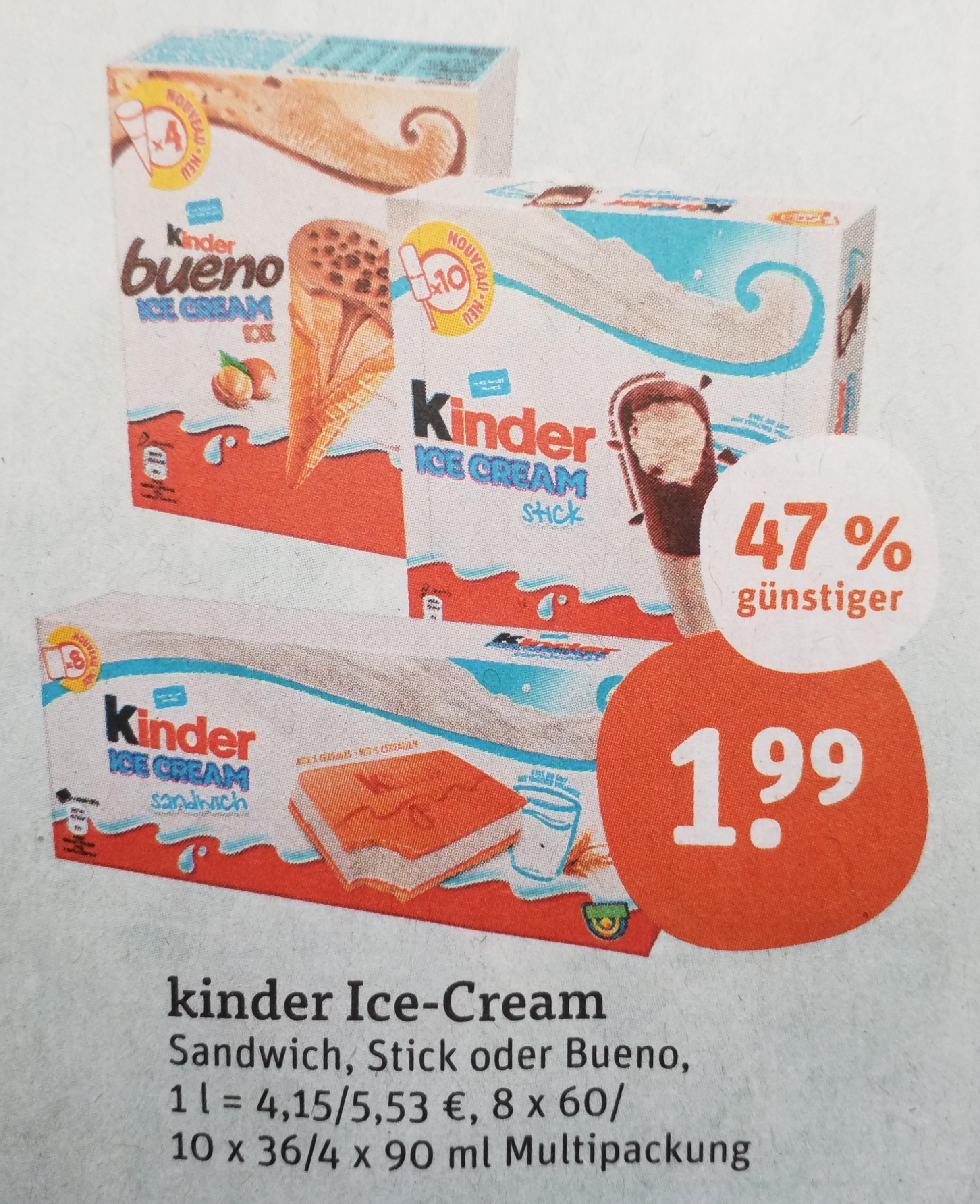 [tegut] Kinder Ice-Cream Bueno, Sandwich oder Stick Eis für 1,49€ dank Coupon