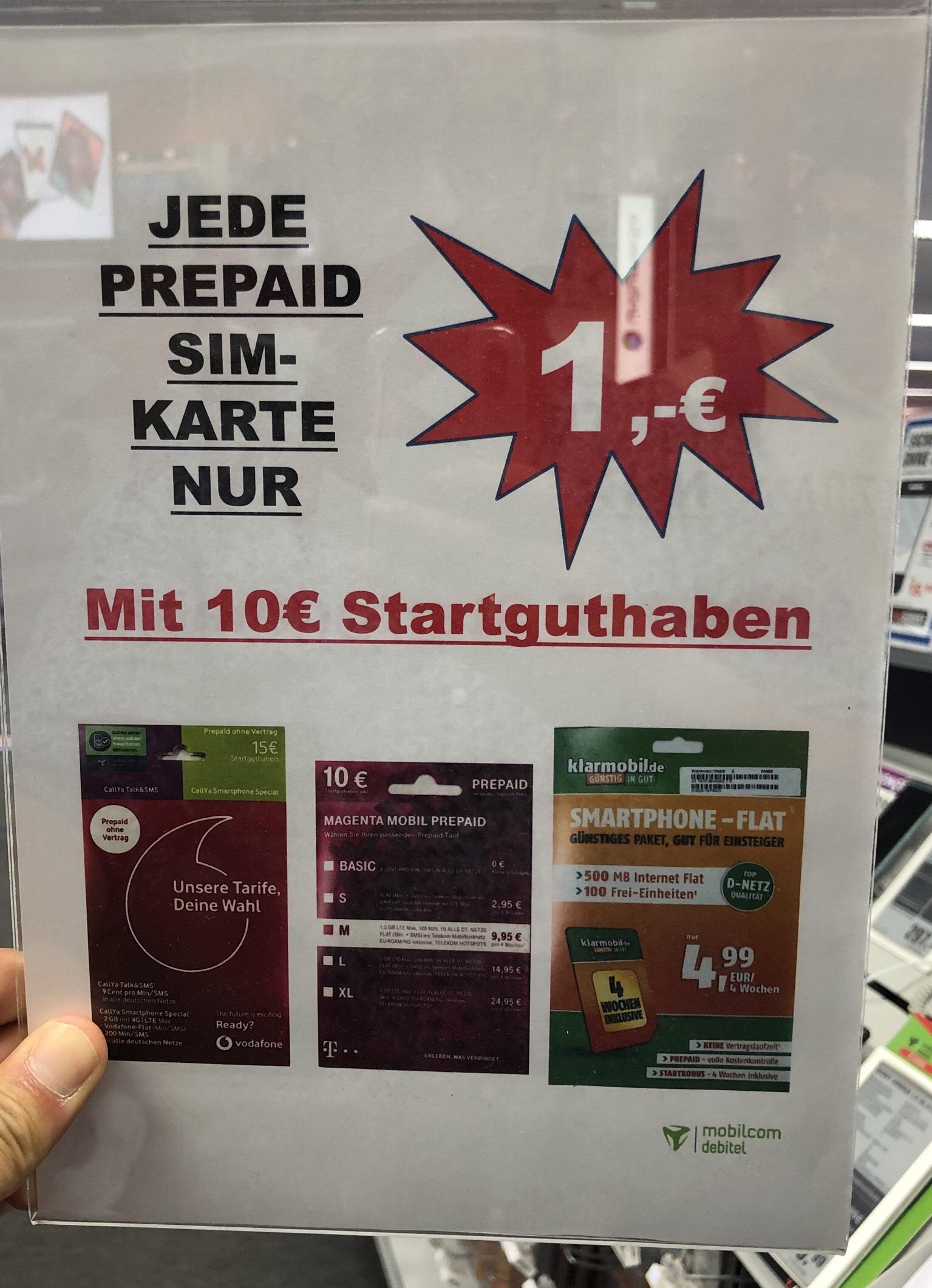 Sim Karte mit 10€ Guthaben für 1€ [Lokal]