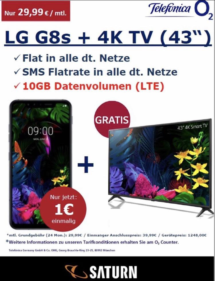 [Lokal]Saturn Bergisch Gladbach LG G8s (128GB) + 4K-Fernseher (PVG 394€) für 1€ ZZ im o2 Free M (Flat Tel + SMS + 10GB mtl. 29,99€