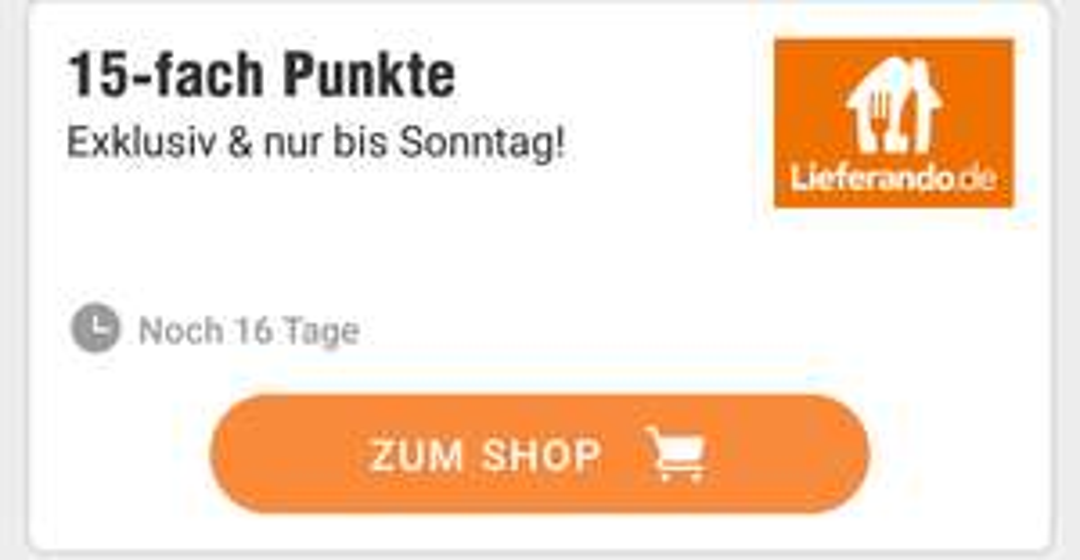 [Deutschlandcard App] 15 Fach Punkte auf Bestellung bei Lieferando bis Sonntag
