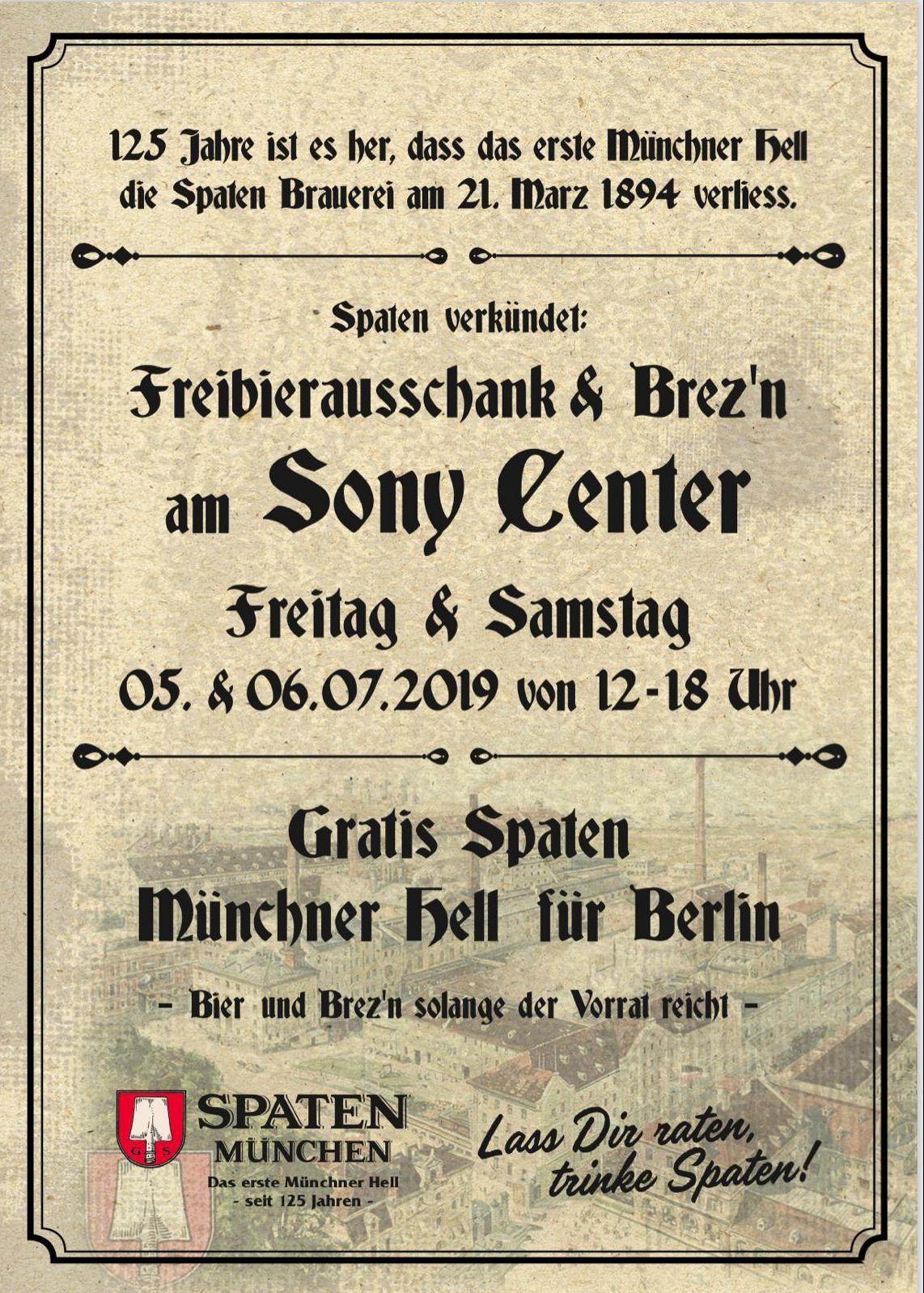 *Lokal Berlin* Spaten Münchner Helles Gratis Bier / Freibier & Brezen am 5. & 6. Juli am Sony Center