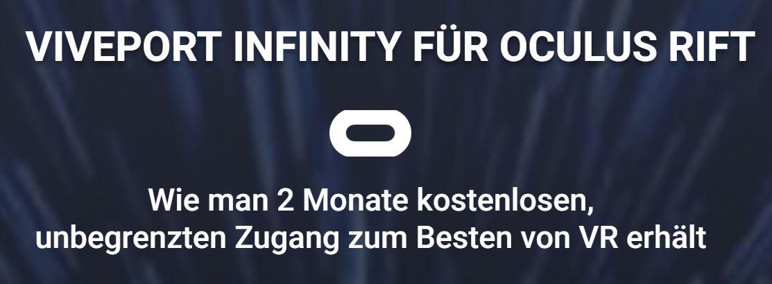 2 Monate Viveport Infinity Gratis mit Oculus Rift