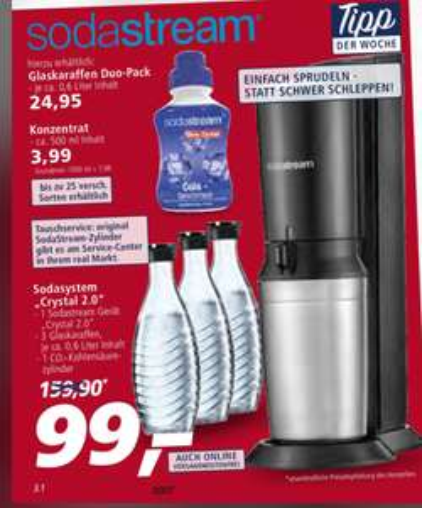 [Real offline] SodaStream Crystal 2.0 + 3 Karaffen für 99,00€