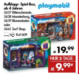[Galeria Karstadt Kaufhof. Nur am 12. und 13.07] Playmobil Aufklapp-Spielboxen Ritterschmiede,Monsterburg,Blumenladen, Surfshop für je 9,99€