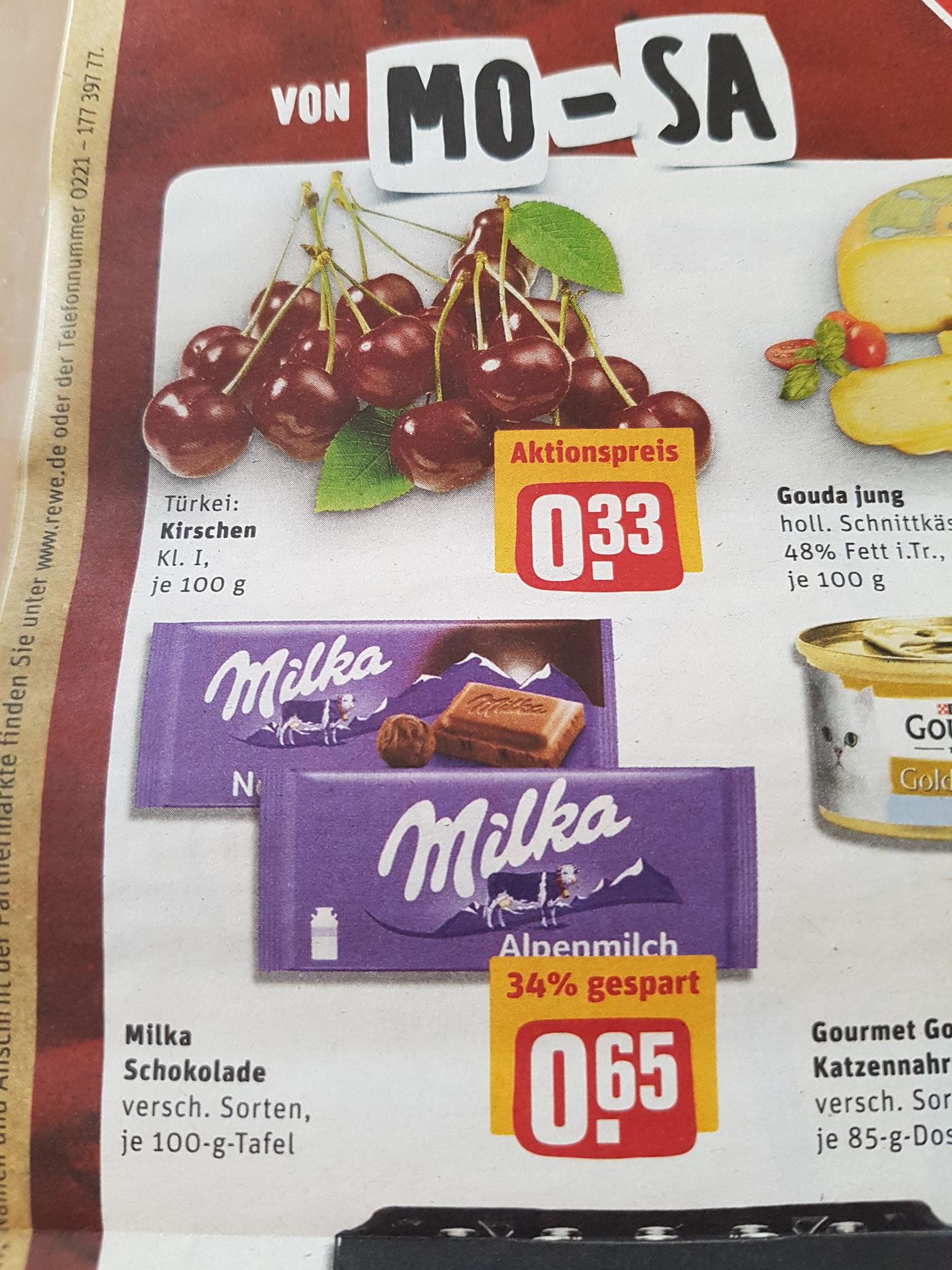 [REWE] Kirschen und Milka-Schokolade zu gutem Kurs