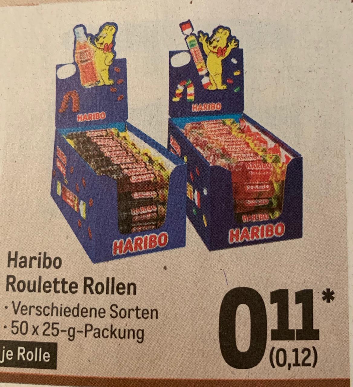 [Metro] Haribo Roulette 50 Stück (25 g) 1,25 kg Rollen gemischt oder Cola