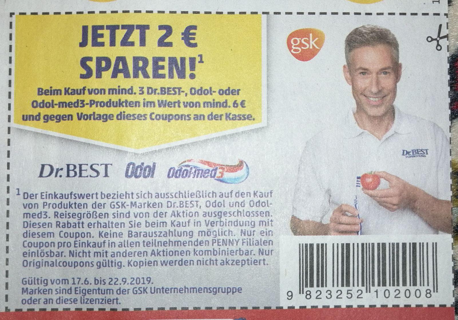 2€ Rabatt beim Kauf von mind. 3 Produkten im Wert von mind. 6€ der Marken Dr. BEST, Odol und Odol-med3 (Rossmann App)