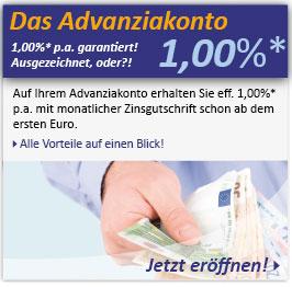 Advanzia Tagesgeld 1% (6 Monate), danach 0,4%, keine Kosten, monatl. Zinsen