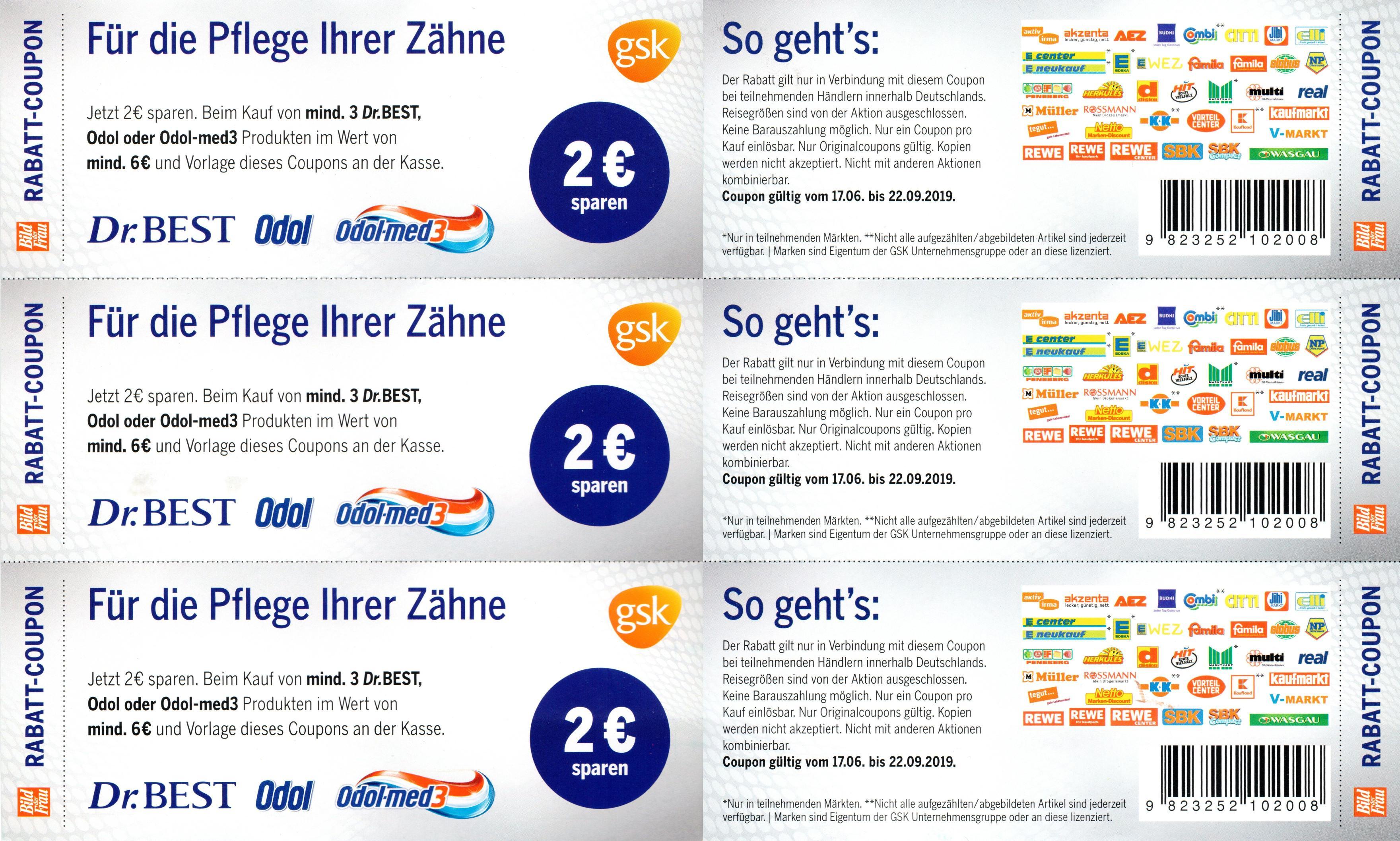 2€ Sofort-Rabatt Coupon für Dr.Best / Odol / Odol-med3 Produkte im Wert von 6€ bis 22.09.2019