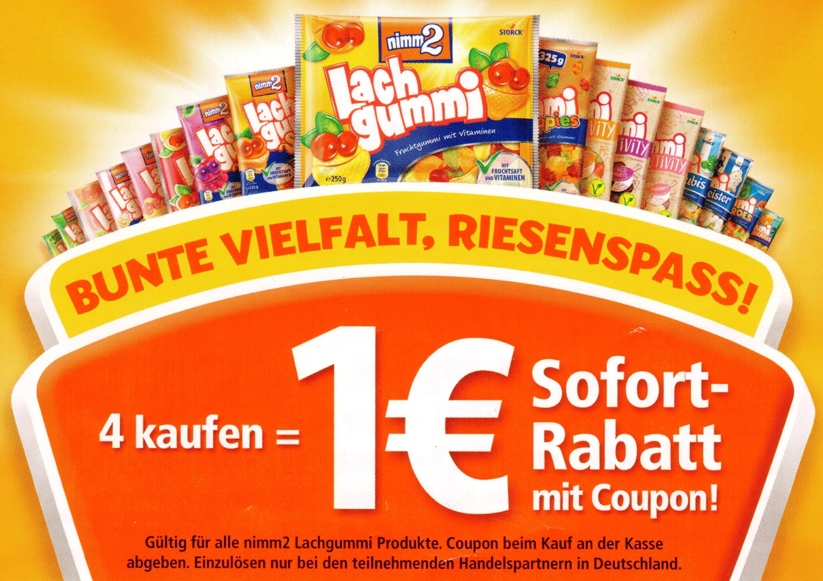 1,00€ Sofort-Rabatt Coupon für 4 Packungen nimm2 Lachgummi bis 15.09.2019
