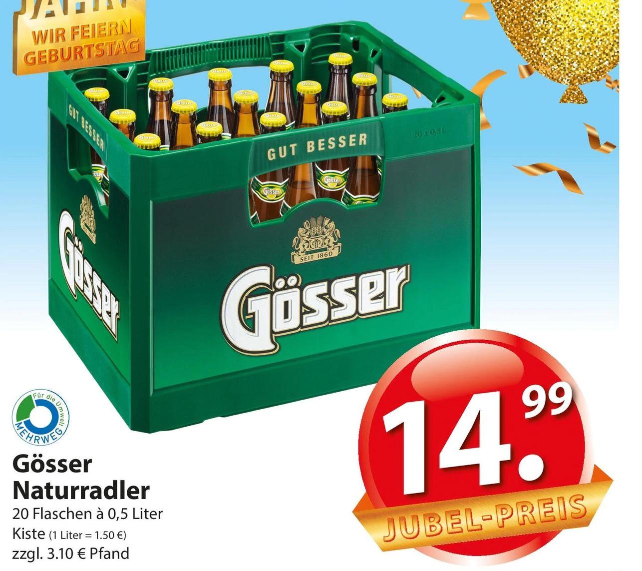 [Famila Nordost] Gösser Naturradler 20x 0,5l Flasche im Mehrwegkasten für 14,99€ + Pfand