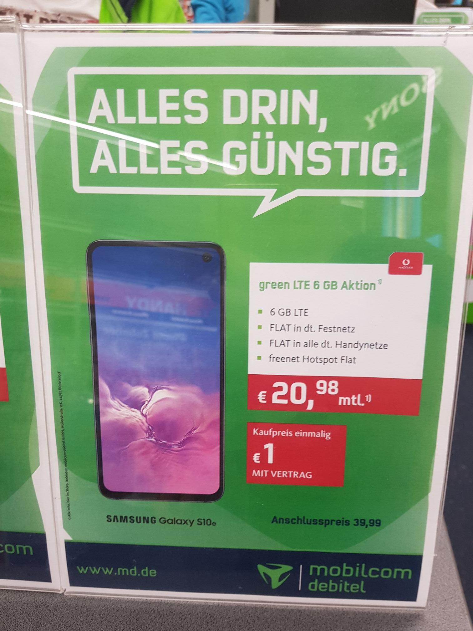 [LOKAL] Samsung Galaxy s10e (Vodafone) 1€ + 39.99€ AG und 20,98€ pro Monat für 6GB LTE Allnetflat