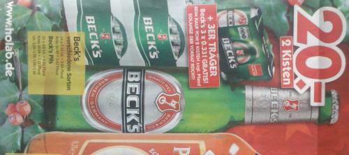 2 Kisten Beck's + 3x0,33L Dosen für 20€ @HolAb (offline)