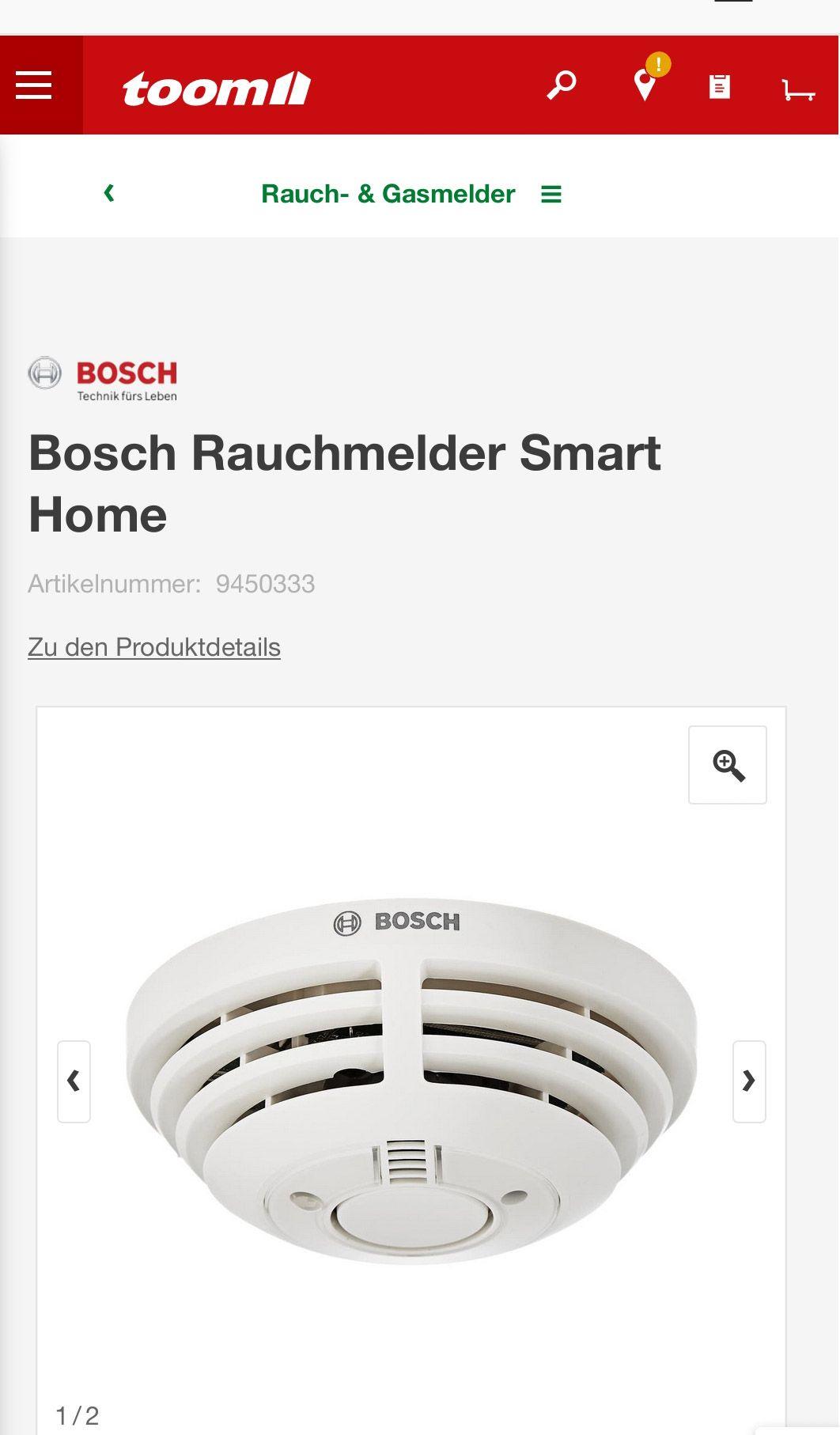 Smarter Bosch Rauchmelder (8750000017) + Bauhaus TPG