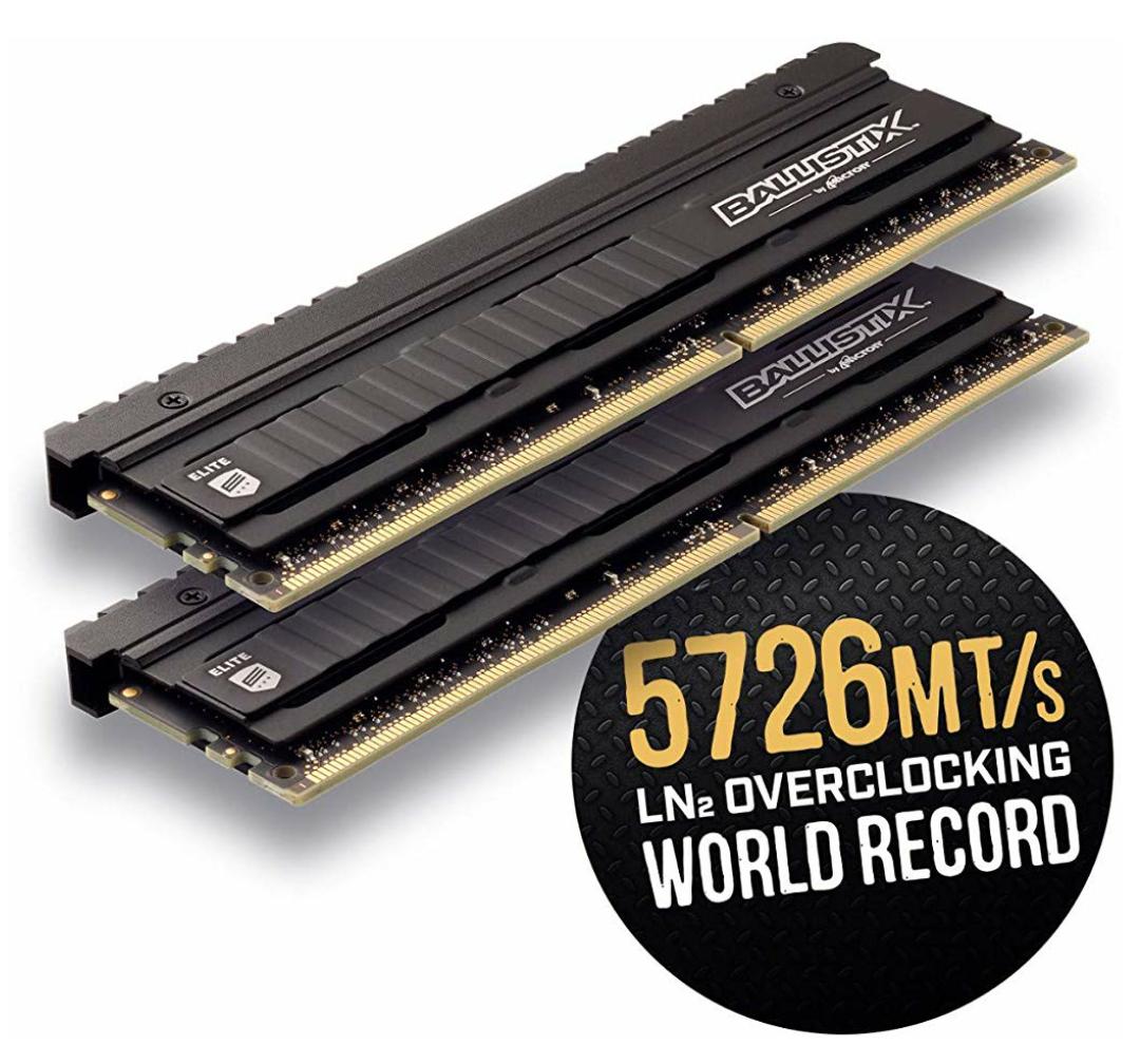 Ballistix Elite Speicher-Kit, (DDR4, 3600 MT/s, PC4-28800, CL16, Single Rank x8, DIMM, 288-Pin), 16GB (8 GB x 2), schwarz