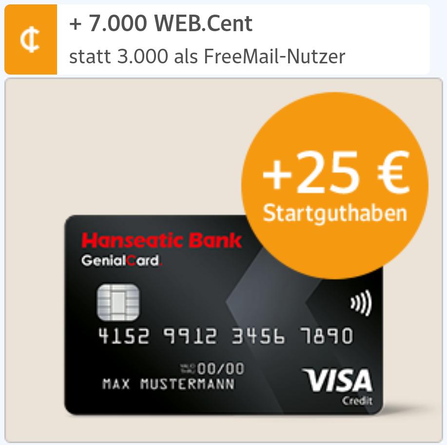 [web.de] Hanseatic Genialcard mit bis zu 95€ Bonus & z.B. Otto Gutscheine mit 10% Rabatt