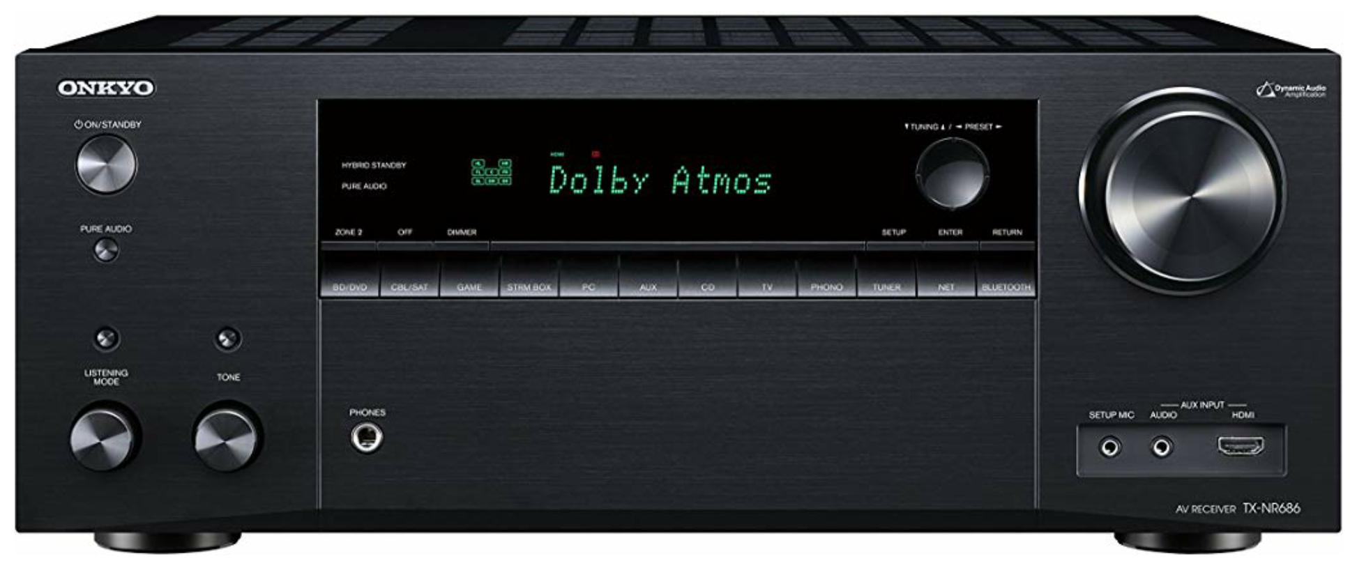 Onkyo TX-NR686(B) 7.2 Kanal AV Receiver (THX Kinoklang, Dolby/DTS:X, WLAN, Bluetooth, Radio, Multiroom, 165 W/Kanal), Schwarz