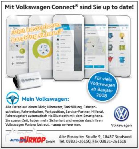 [Lokal u.a. Stralsund] Gratis VW DataPlug für Volkswagen Connect