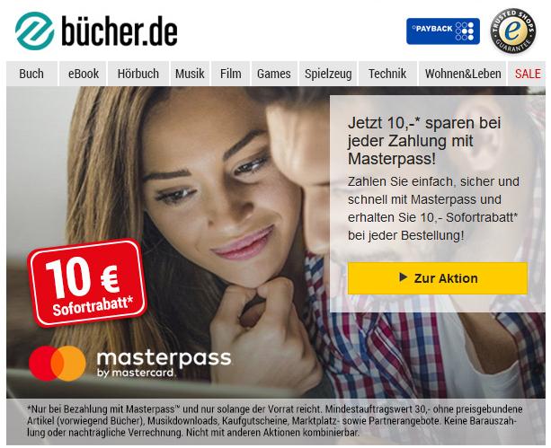 [masterpass] 10 € Rabatt bei buecher.de ab 30,- bei Zahlung mit Masterpass