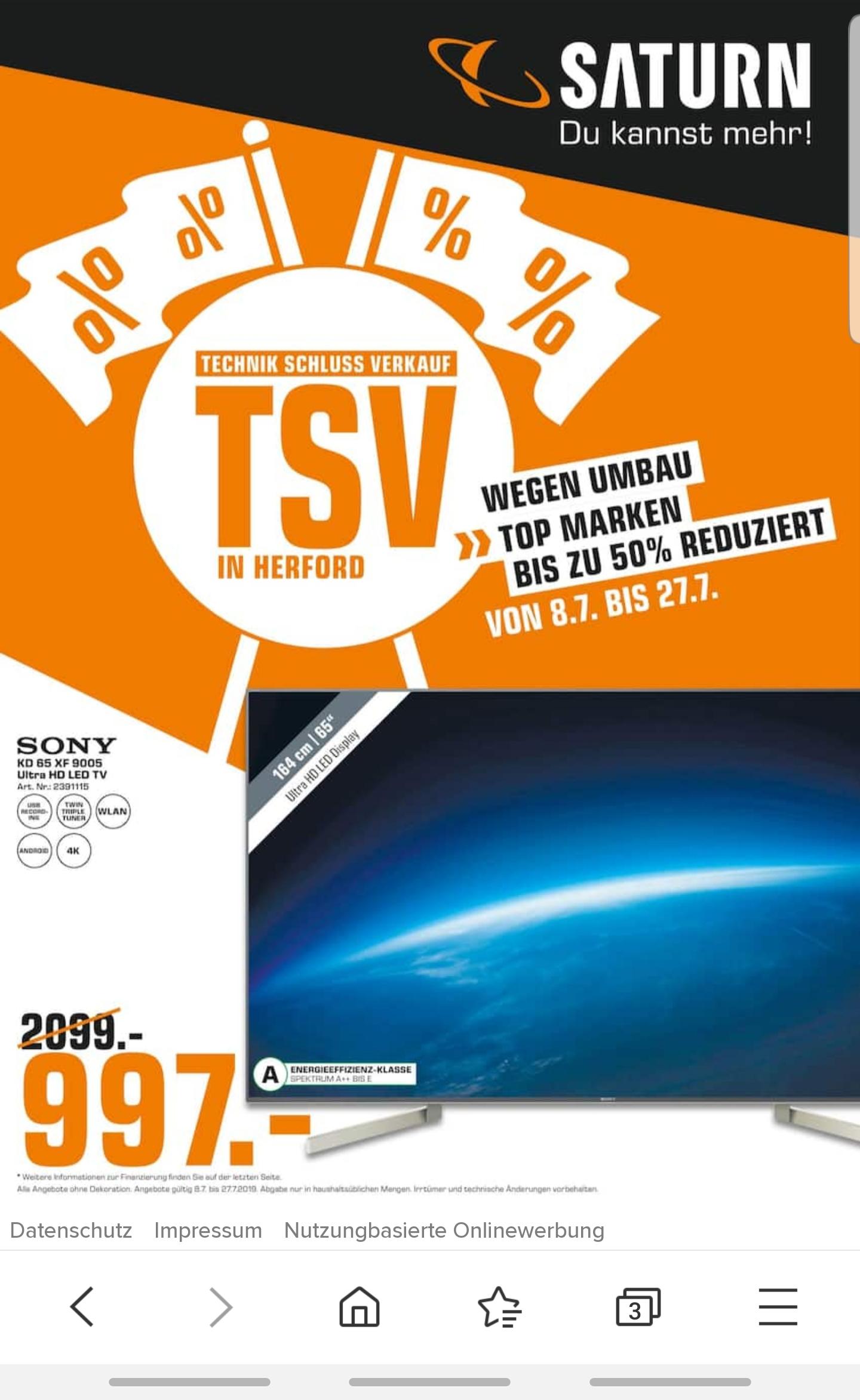 [LOKAL Saturn Herford] SONY KD-65XF9005 SMART TV