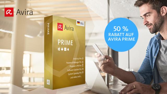 Avira Prime - 5 Geräte /1 Jahr - Virenschutz, Passwort Manager, VPN, Software Updater