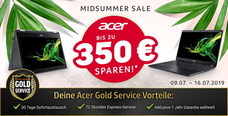 Acer Midsummer Sale: Notebooks, Monitore, Beamer, PC-Systeme und Zubehör (09.07. 9 Uhr bis 16.07. 23:59 Uhr)