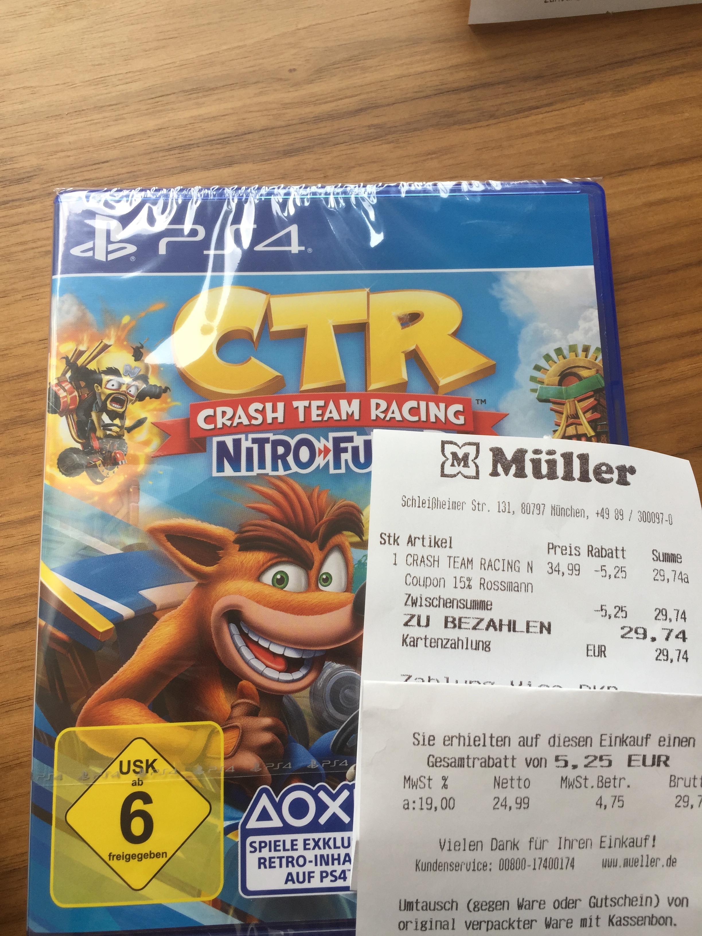 Müller Offline 15 % Gutschein Crash Team Racing: Nitro-Fueled (PS4/ XBOX/ Nintendo)