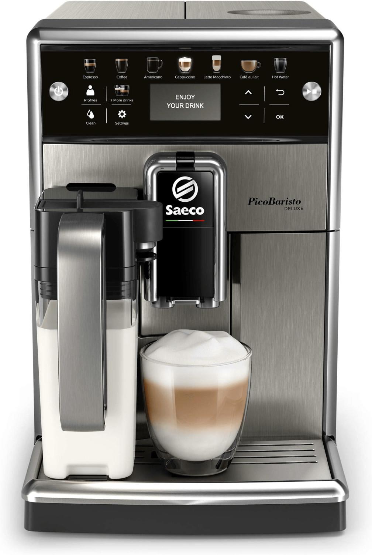 KVA Saeco SM5573/10 PicoBaristo Deluxe (Kaffeemenge/-temperatur regelbar, Milchbehälter, Auto-Reinigung, herausn. Brühgruppe, Touch-Display)