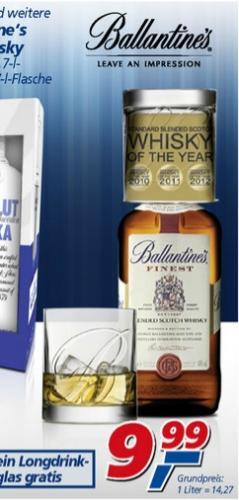 Ballantines Whisky + ein Gratis Tumbler für 9,99€ @,-real [bundesweit]