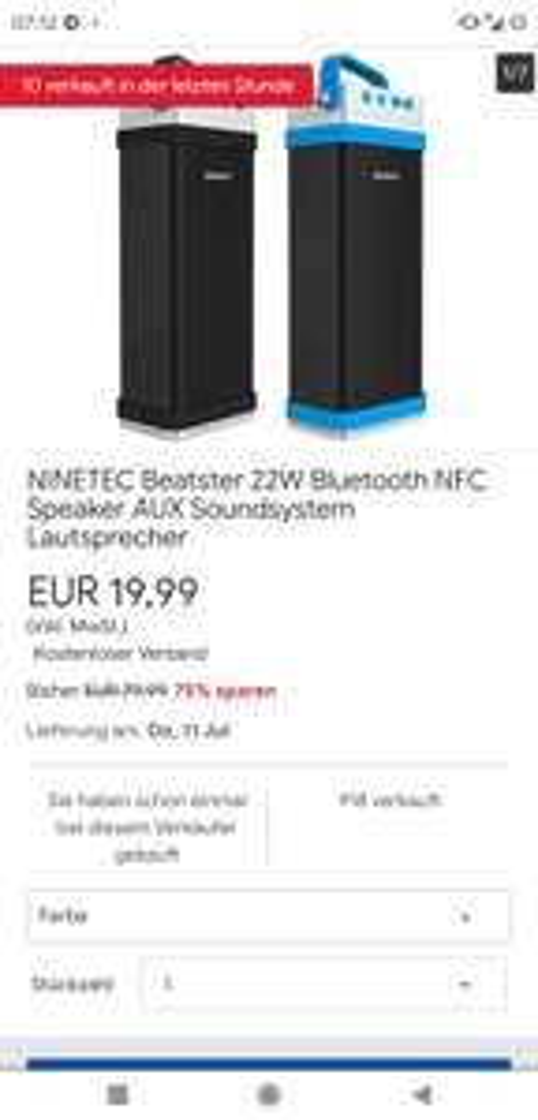 NINETEC Beatster 22W Bluetooth NFC Speaker AUX Soundsystem Lautsprecher