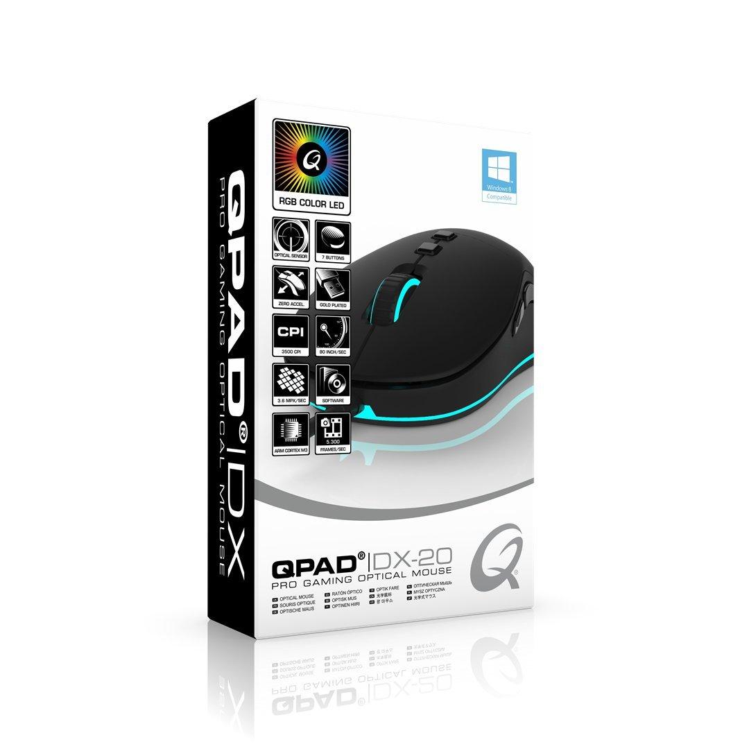 QPAD DX-20 Pro Gaming, Maus, optisch, 3500dpi, USB, 7 Tasten, schwarz