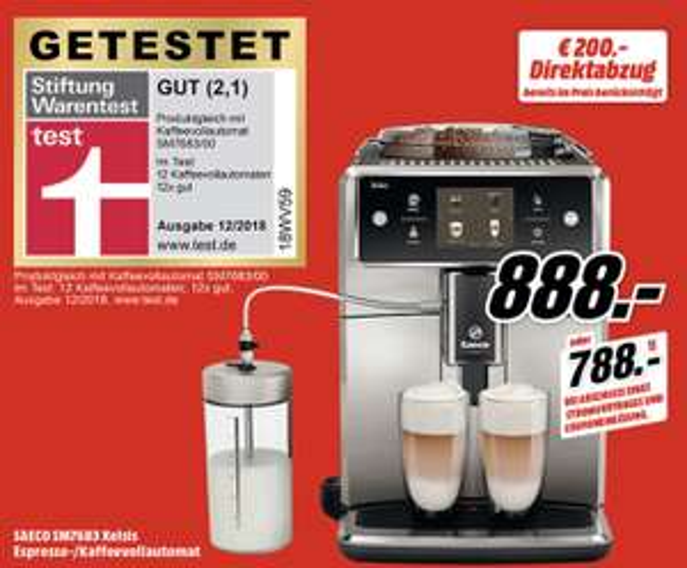 SAECO SM7683 Xelsis Kaffeevollautomat mit Coffee Equalizer für 888€ [MediaMarkt]