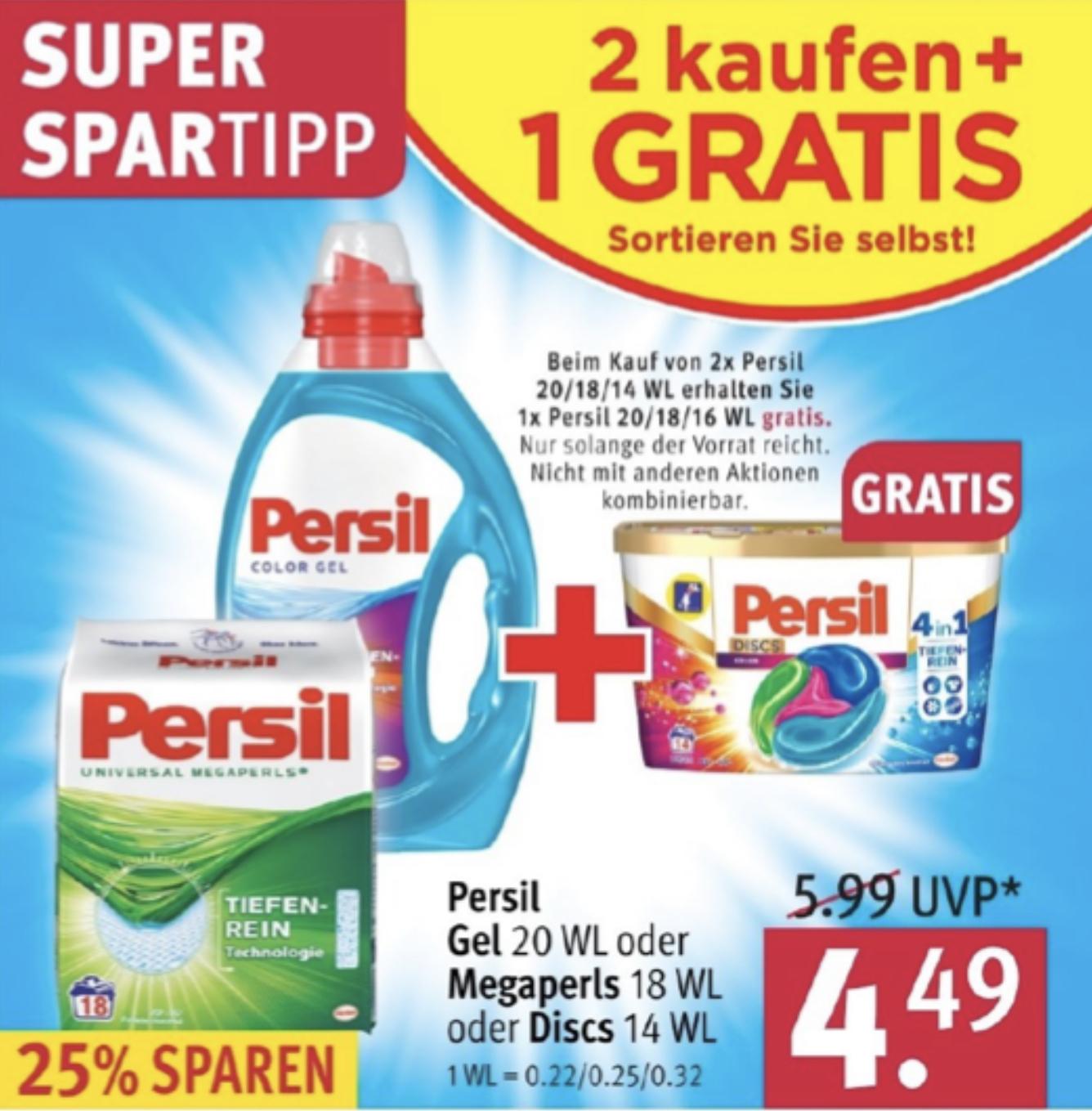 2,69€ je Packung! - 3 Packungen PERSIL Megaperls, Gel o. Discs für 8,08€ - ab 15.07.