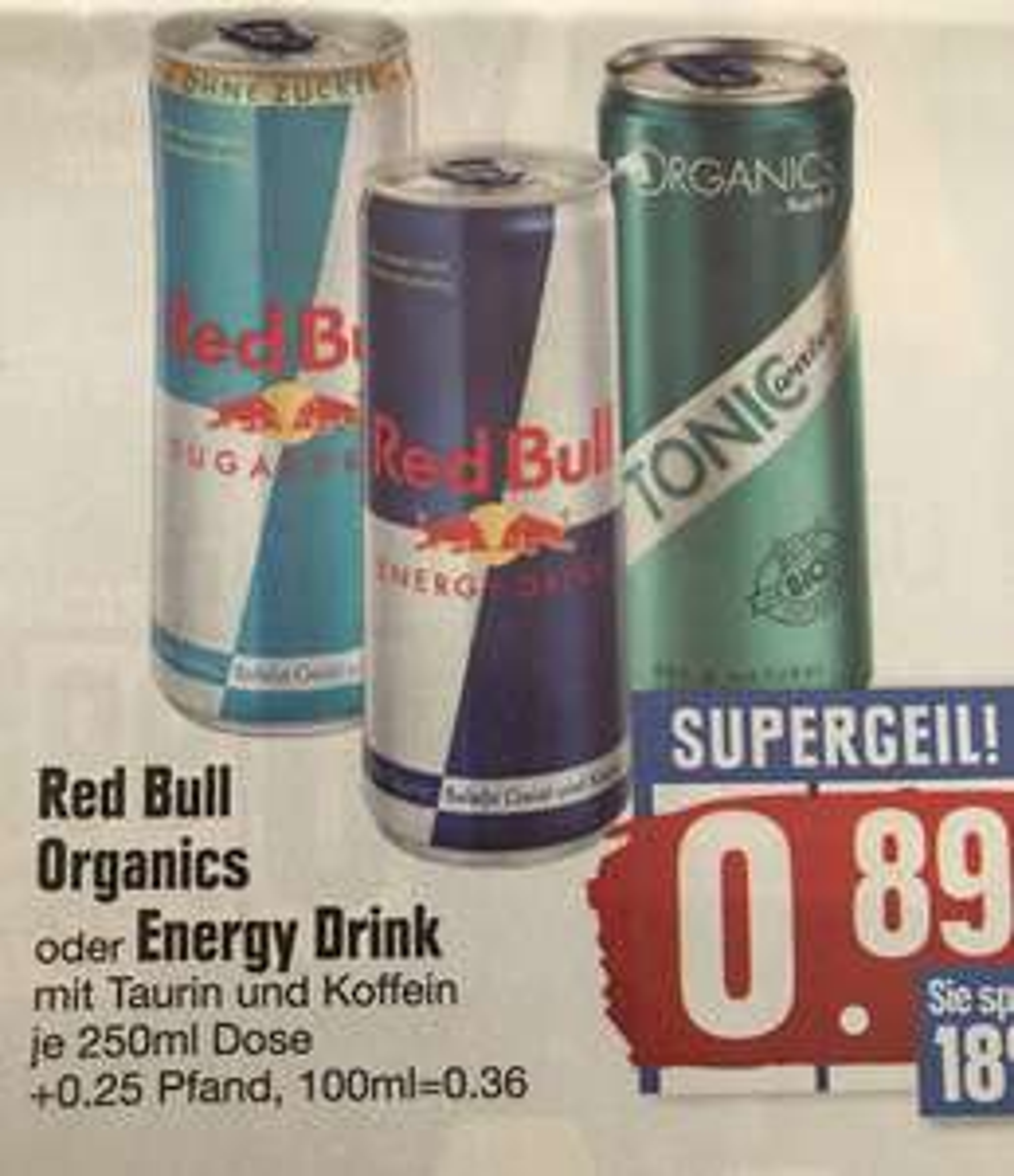 [Edeka Südbayern] Red Bull Organics und Energy Drinks für 0,89€