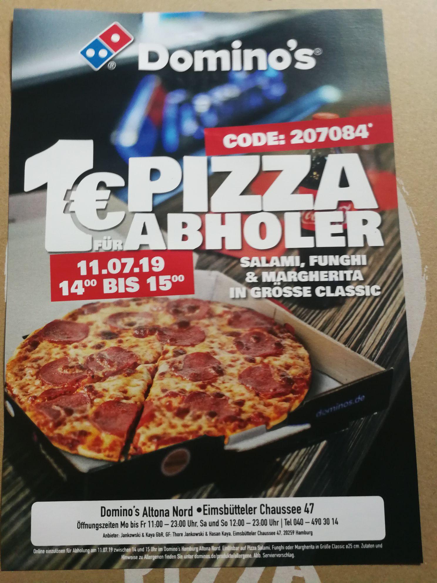 Pizza Klassiker für 1,- Euro bei Abholung - 11.07. lokal Hamburg-Altona