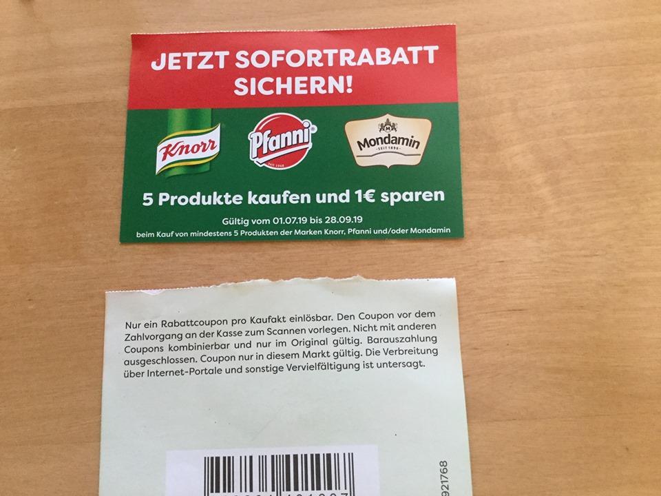Knoor , Pfanni und/oder Mondamin für mindestens 5€ kaufen und 1€ sparen (mindestens 5 Produkte)