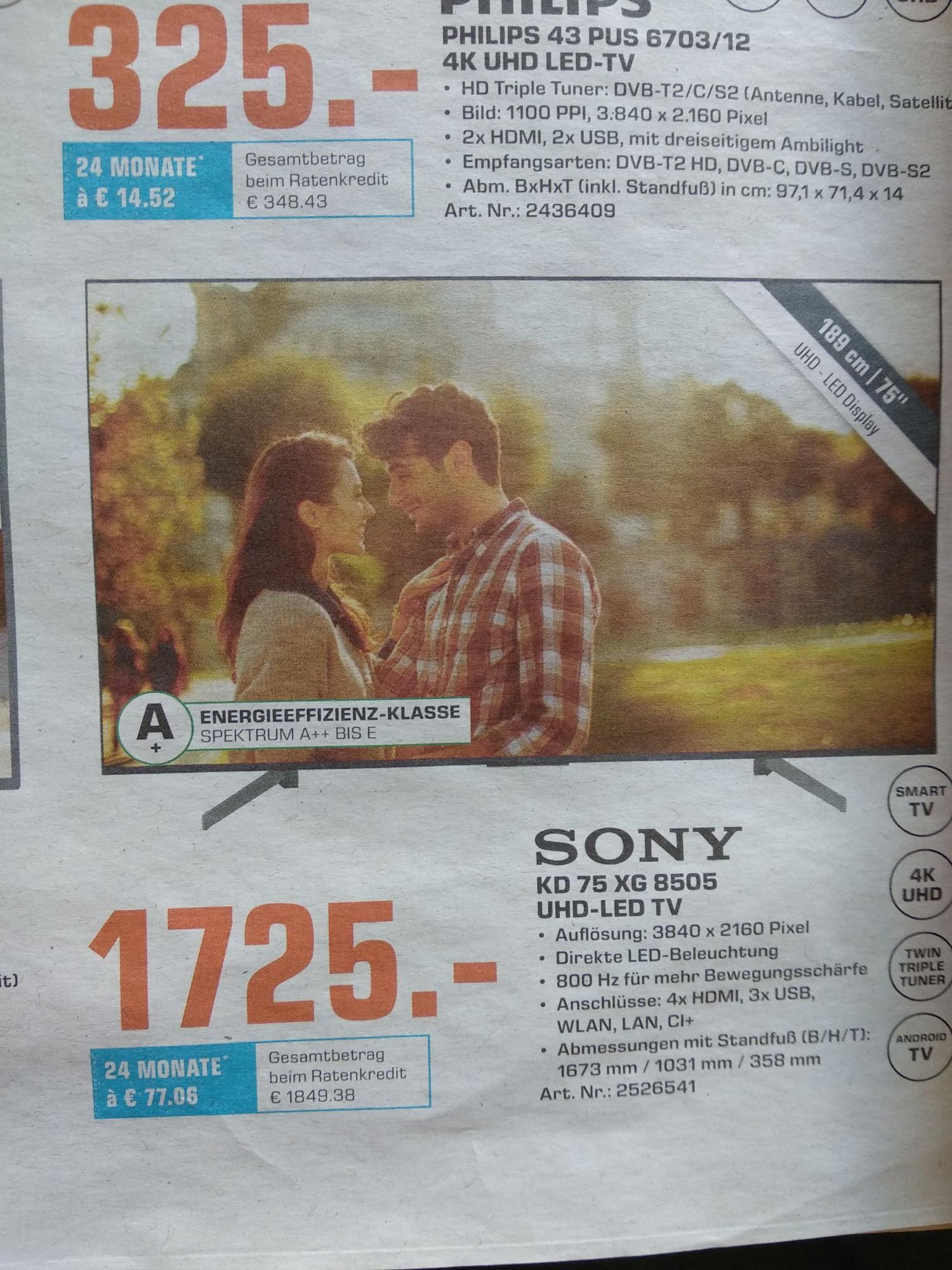 (LOKAL SATURN TRIER) Sony KD 75 XG 8505