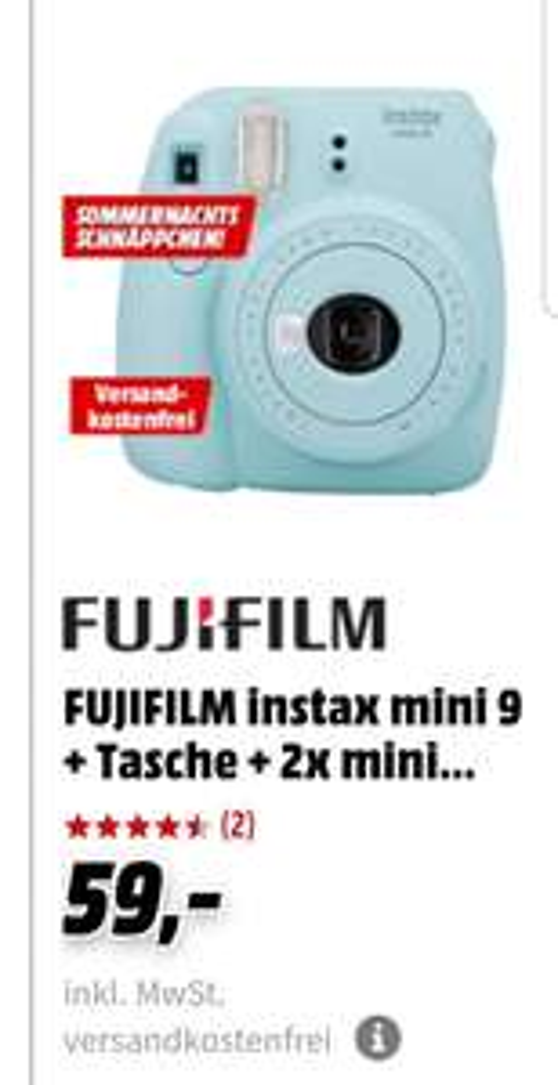 FUJIFILM instax mini 9 + Tasche + 2x mini Deko-Filme