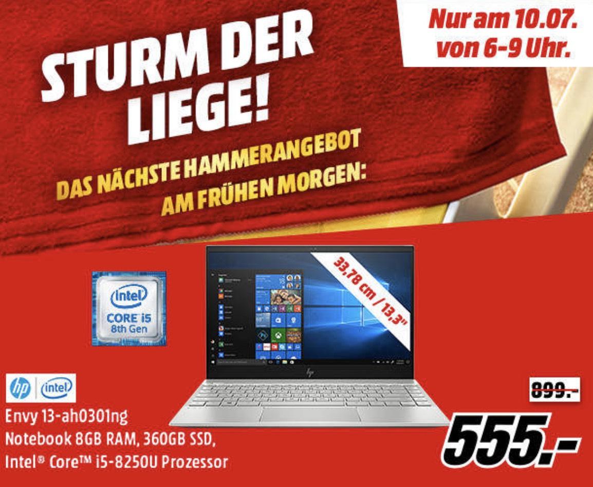 [MediaMarkt] HP ENVY 13-ah0301ng, Notebook mit 13.3 Zoll Display, Core™ i5-8250u Prozessor, 8 RAM, 360 SSD, Intel® UHD-Grafik 620, 1.3 Kg