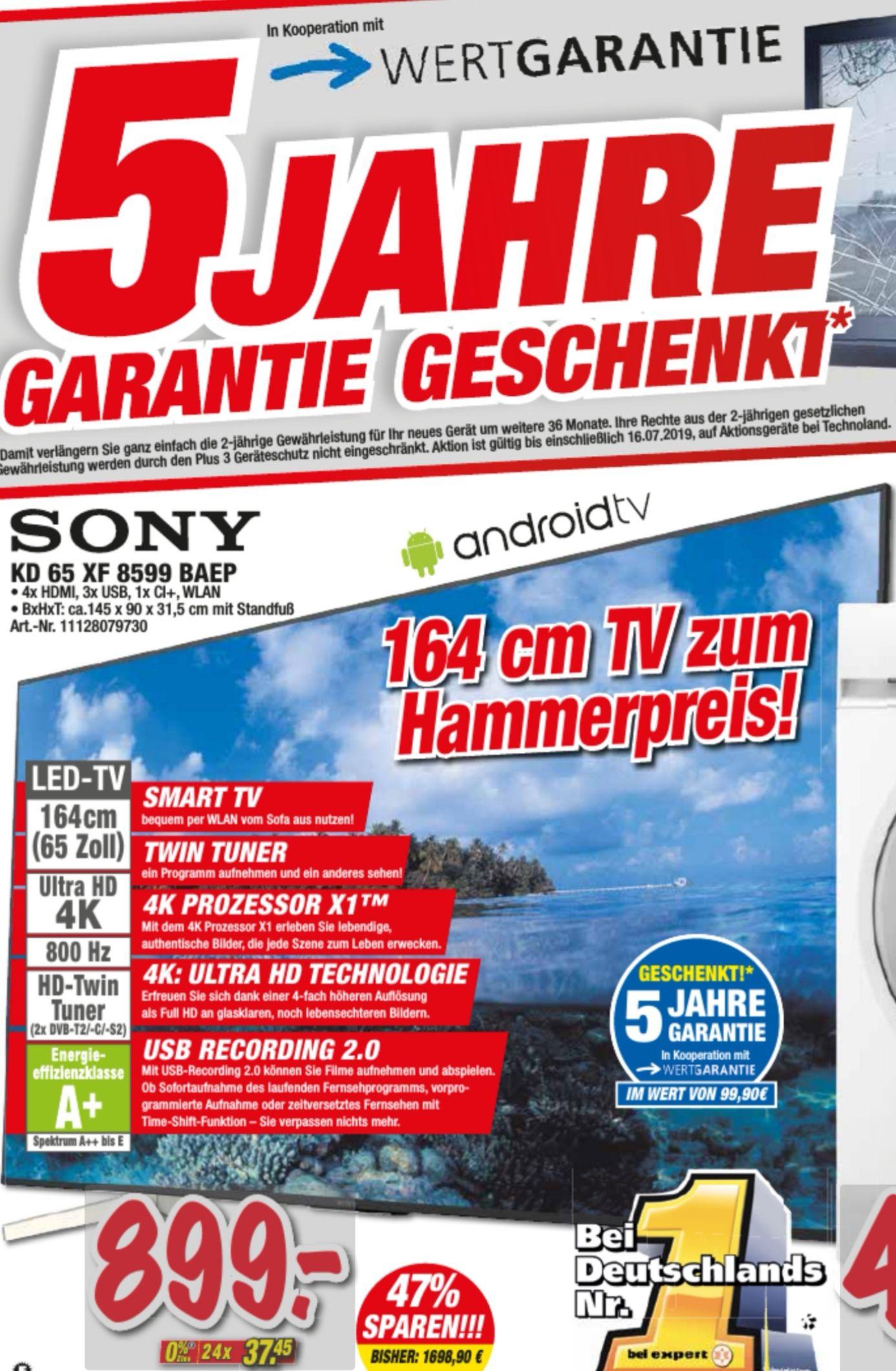 Sony-KD65XF8599BAEP Android-TV 164cm 65 Zoll LED 4K UHD 800Hz A+ DVB-T2/C/S2 (Schwarz)