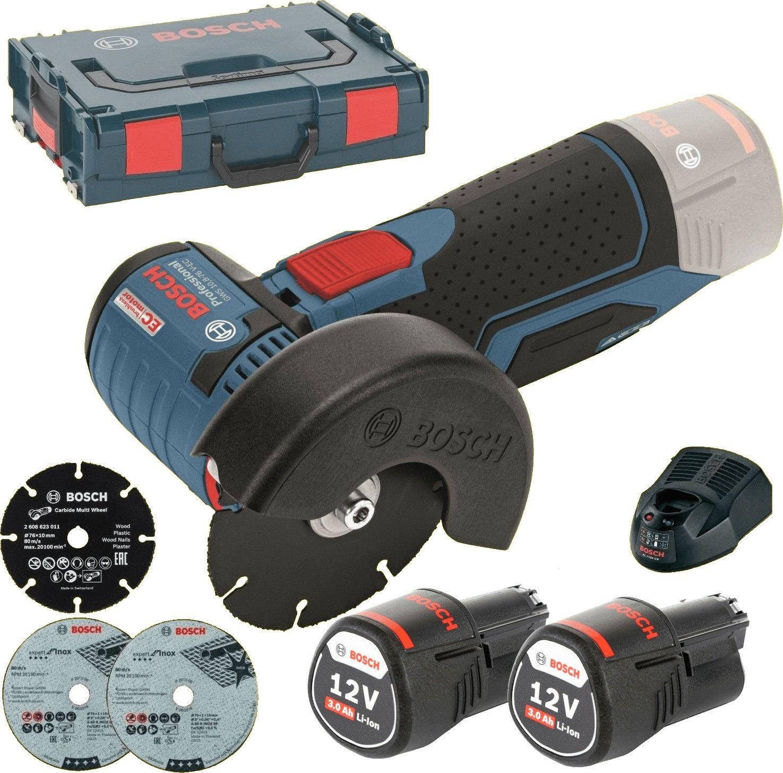 Bosch Professional Akku-Winkelschleifer GWS 12V-76 / 2x 3,0 Ah Akku + Zubehör-Set in L-Boxx