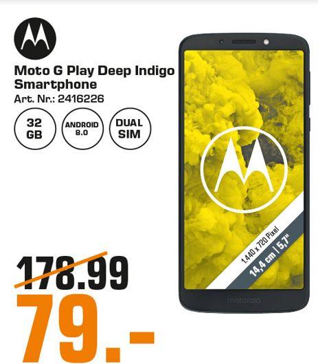 [Regional Saturn Bielefeld ab 11.07] Motorola moto g6 Play (5,7 Zoll), 32GB interner Speicher, 3GB RAM, Android) Deep Indigo für 79,-€