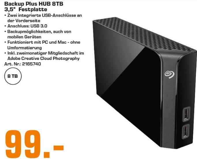 [Regional Saturn Stuttgart/Esslingen] Seagate Backup Plus Hub 8 TB, Festplatte, schwarz, USB 3.0 für 99,-€