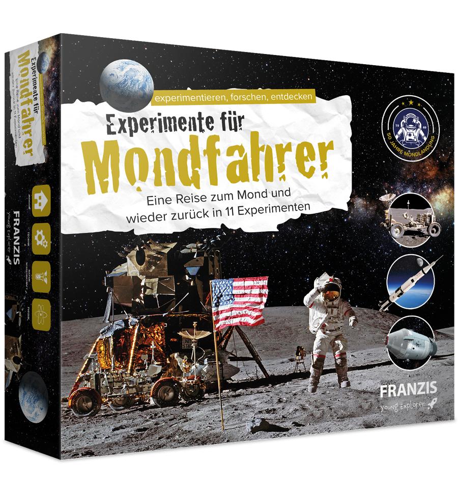 Franzis: Experimente für Mondfahrer (11 Experimente, Handbuch, Bastelsatz für Mondphasen-Kalender, versch. Raketenbausätze. Mondstaub u.v.m)