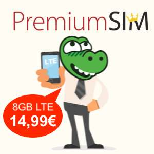 8GB LTE statt 6GB bei PremiumSIM für mtl. 14,99€ + 20€ Sofortbonus (monatlich kündbar / 24-Monatsvertrag, Telefonica-Netz)