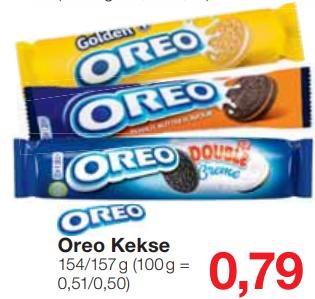 Oreo Vanille, Erdnussbutter oder Double Cream 154/167g für 0,79€ bei Jawoll bis 16.07.2019