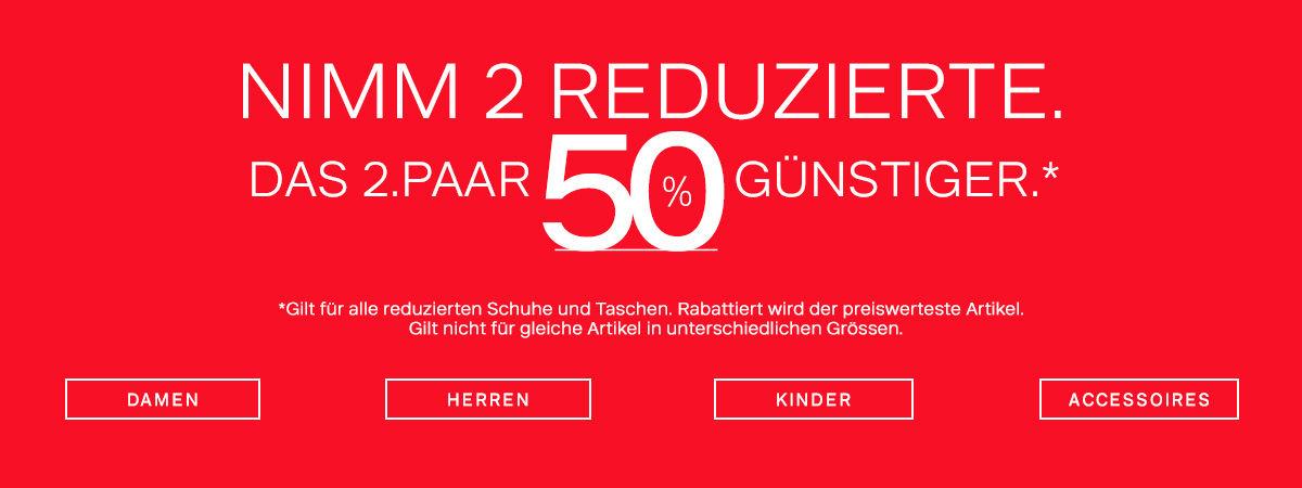 Deichmann SALE: 2 reduzierten Artikel kaufen, das zweite 50% günstiger + 12% Shoop