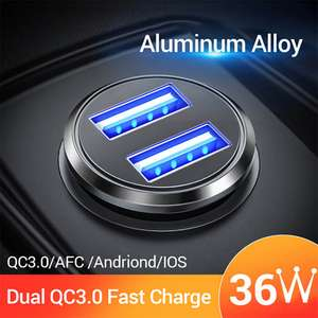 FIVI Auto Ladegerät Dual USB Quick Charge QC 3,0 Metall