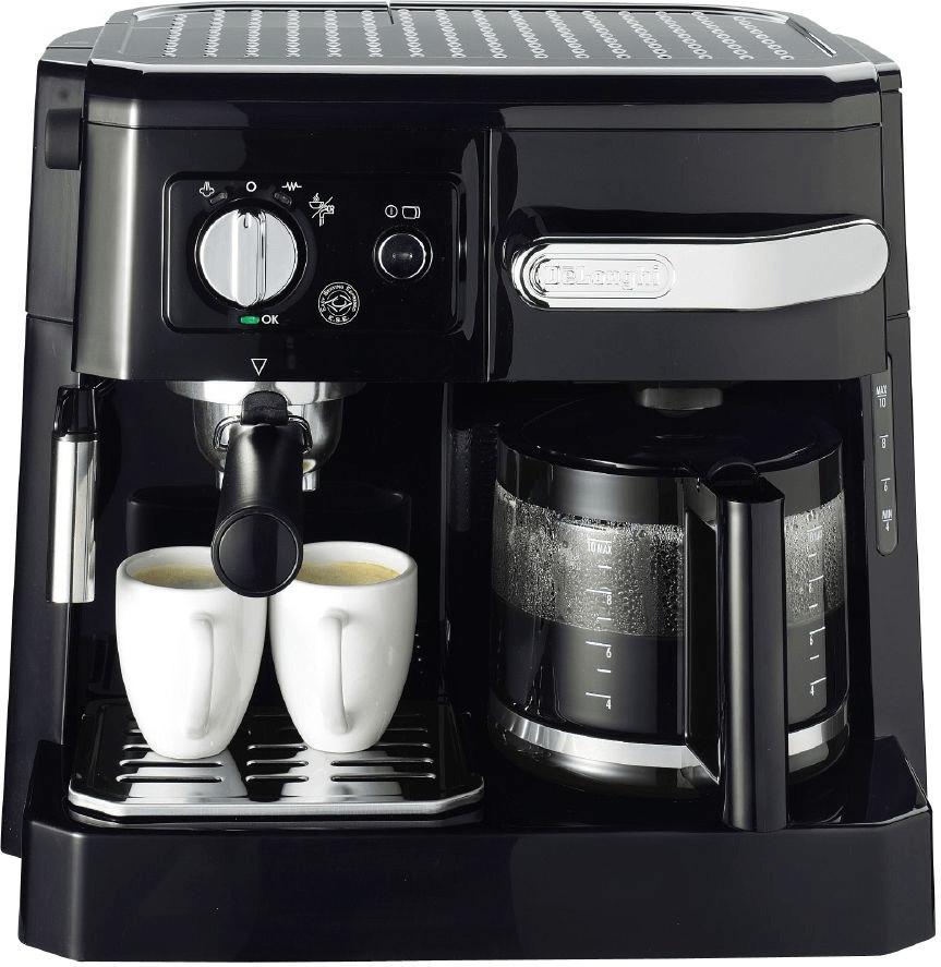 Kombi-Kaffeemaschine De'Longhi BCO 410 (1750W, 15bar, Espresso & Filterkaffee, ESE-Pads & Pulver, Glaskanne bis 10 Tassen, Milchschaumdüse)