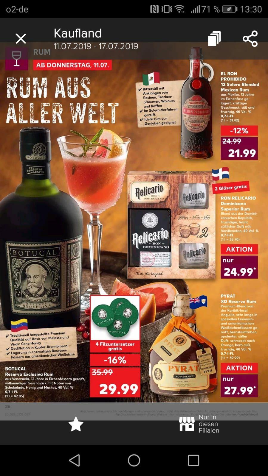 [Kaufland] Diverse Rum Sorten ab 11.07. z.B. Botucal 29,99€, Ron Relicario 24,99€ und weitere...